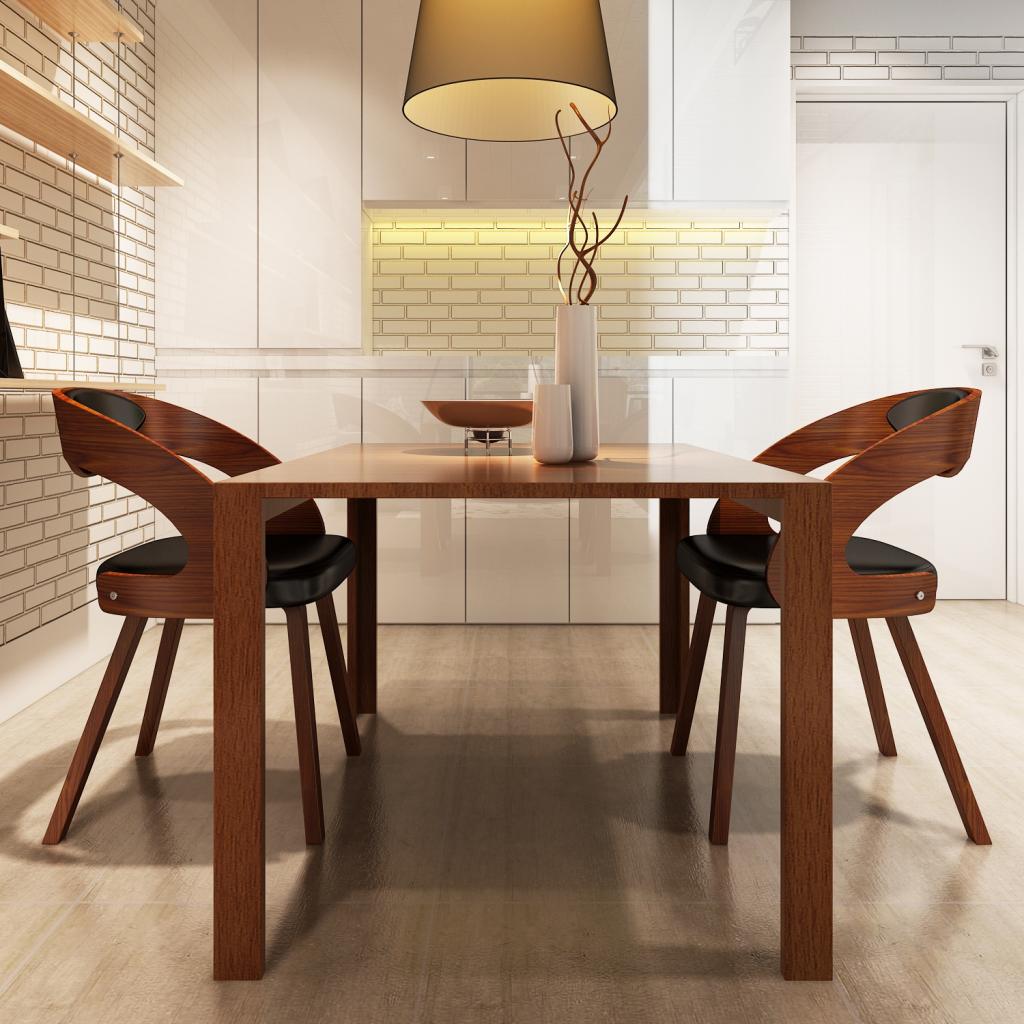 Sólo 130.62€, Juego de 2 sillas de comedor de madera curvada con el ...