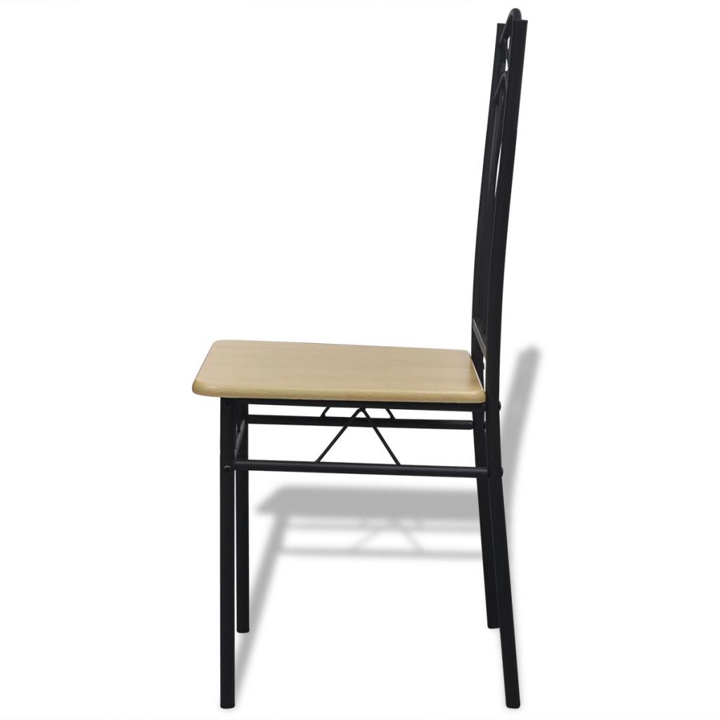 Set of 6 Light Brown Steel Frame Dining Chairs - LovDock.com