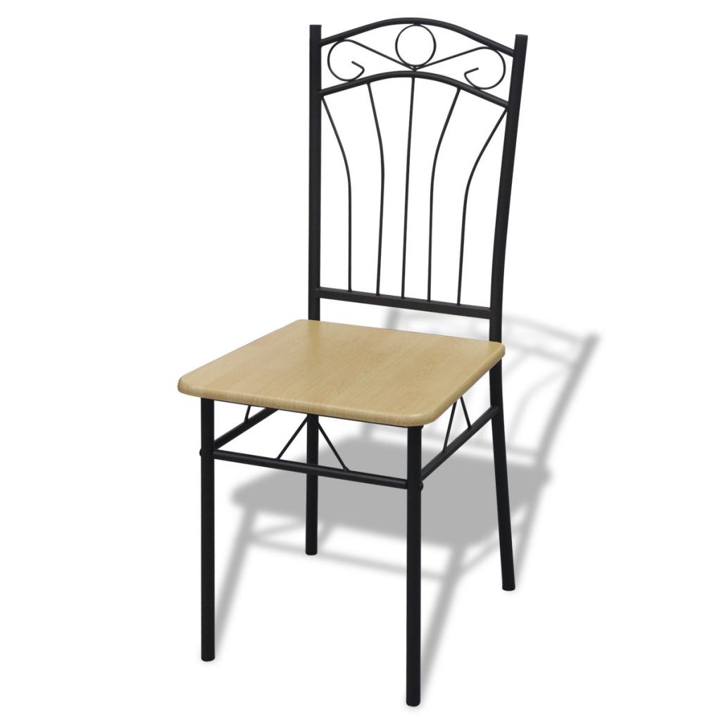 Set of 4 Light Brown Steel Frame Dining Chairs - LovDock.com