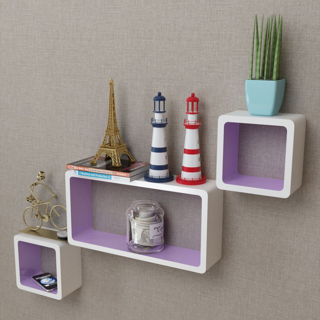 3 White Purple MDF Floating Wall Display Shelf Cubes Book/DVD Storage