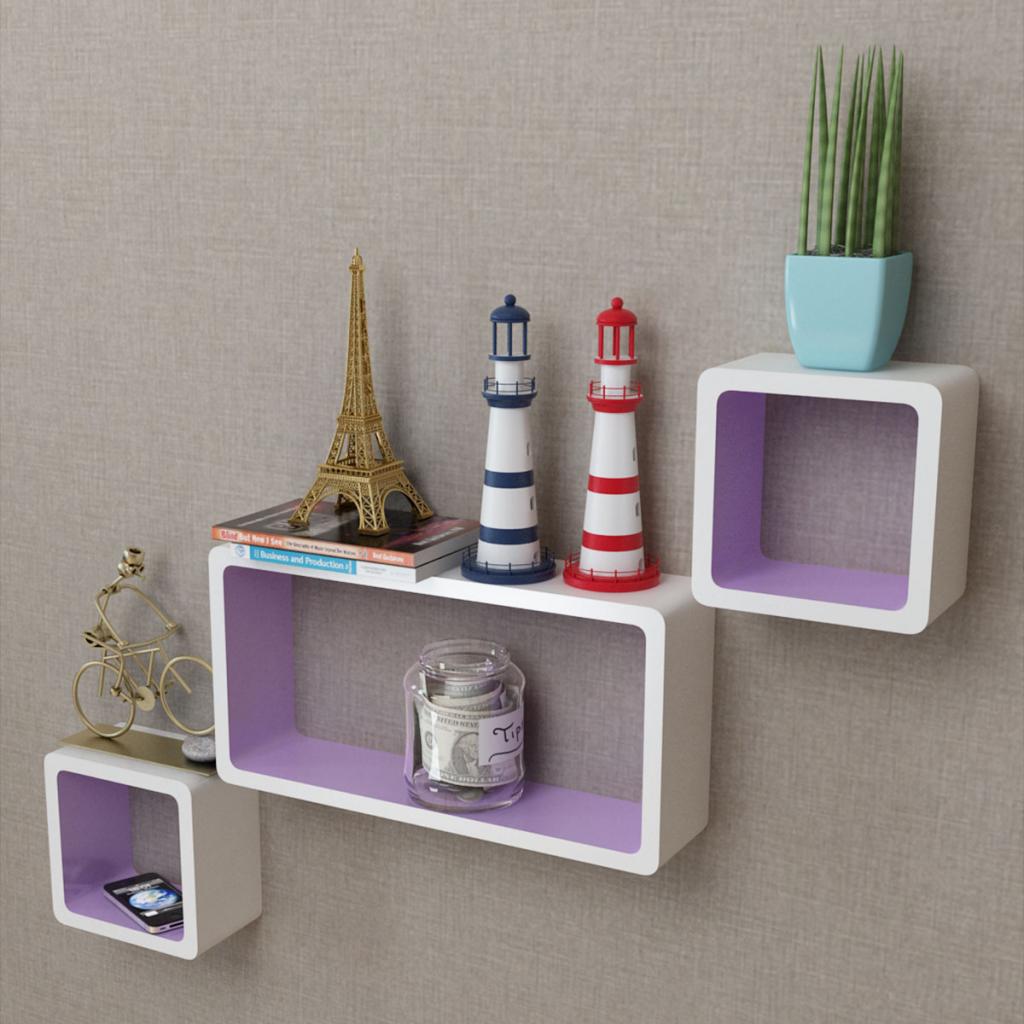3 White-purple MDF Floating Wall Display Shelf Cubes Book/DVD Storage & white u0026 purple 3 White-purple MDF Floating Wall Display Shelf Cubes ...