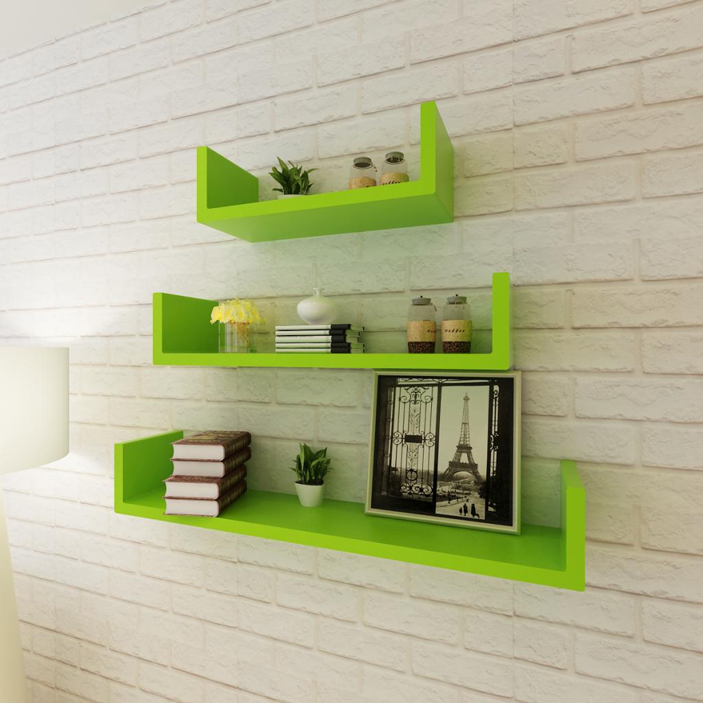 3 Green MDF U Shaped Floating Wall Display Shelves Book/DVD Storage