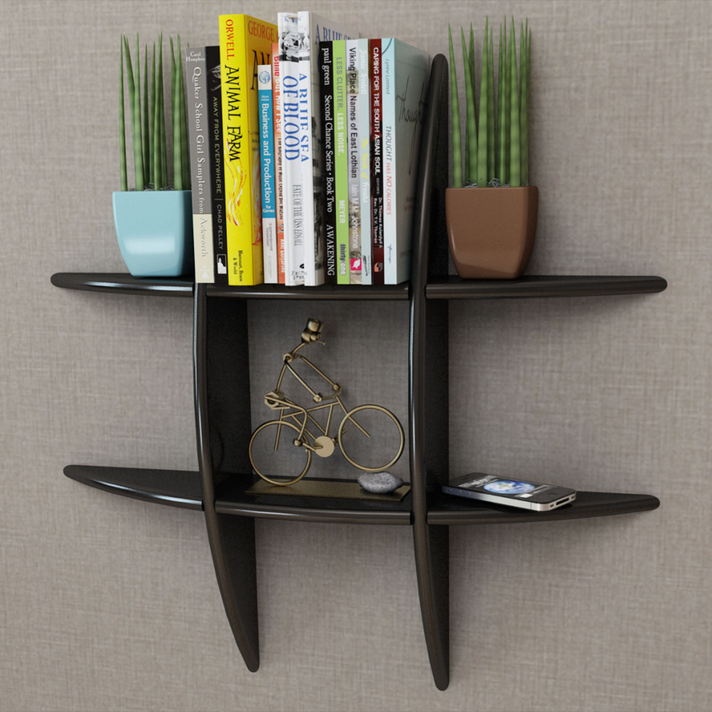 Black MDF Floating Wall Display Shelf Book/DVD Storage