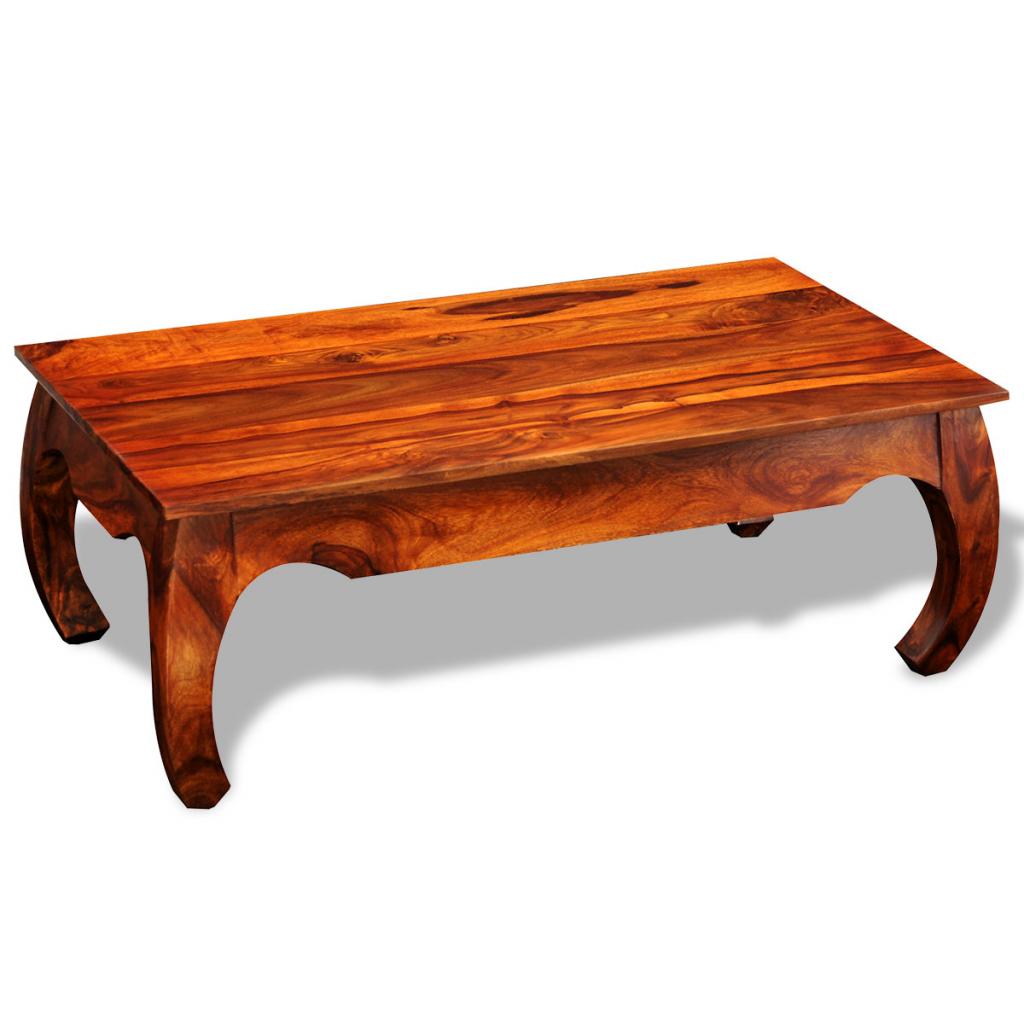 Brown solid sheesham wood coffee table side table 40 cm for Coffee table with side tables