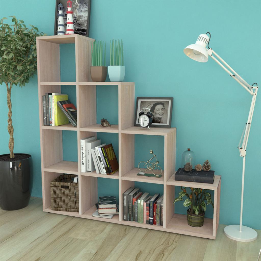 Staircase Bookcase/Display Shelf 142 Cm Oak