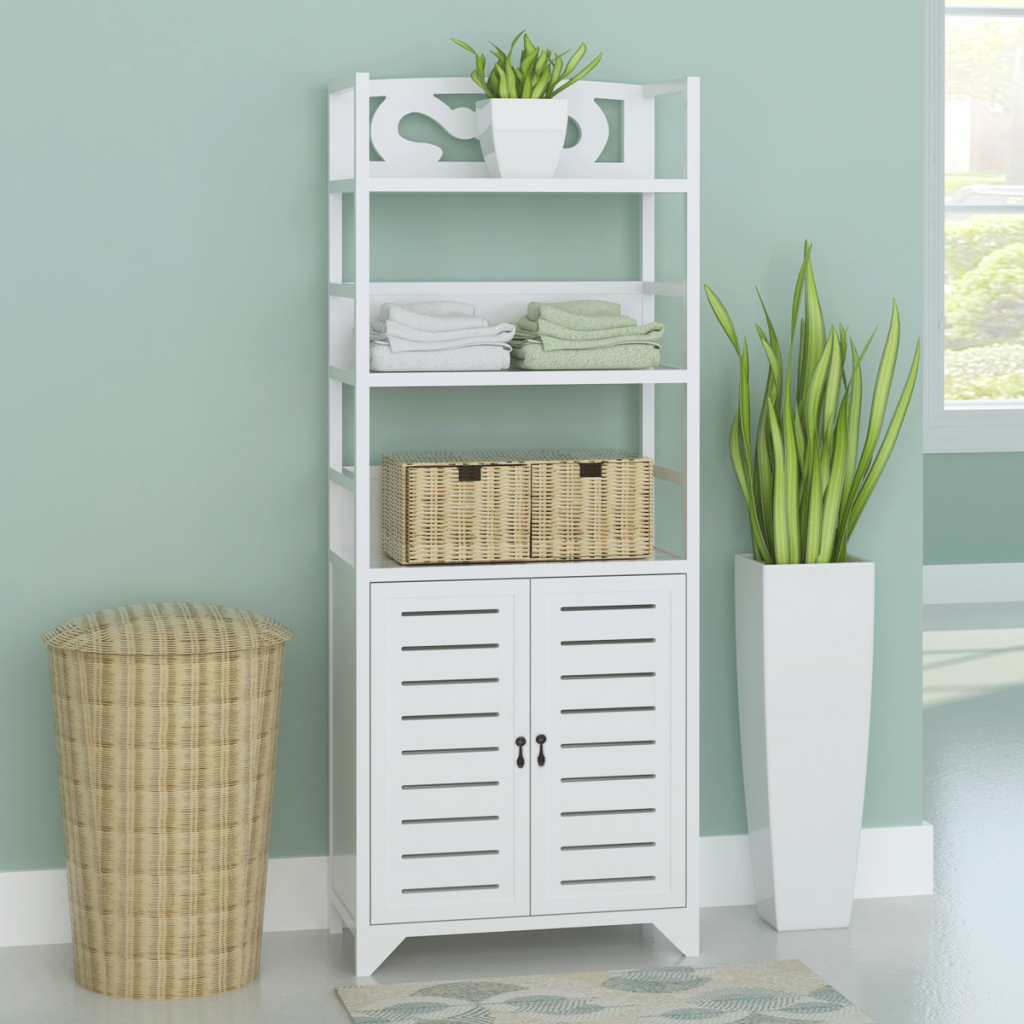 white Bathroom Cabinet Albuquerque Wood White 46x24x117.5 cm ...