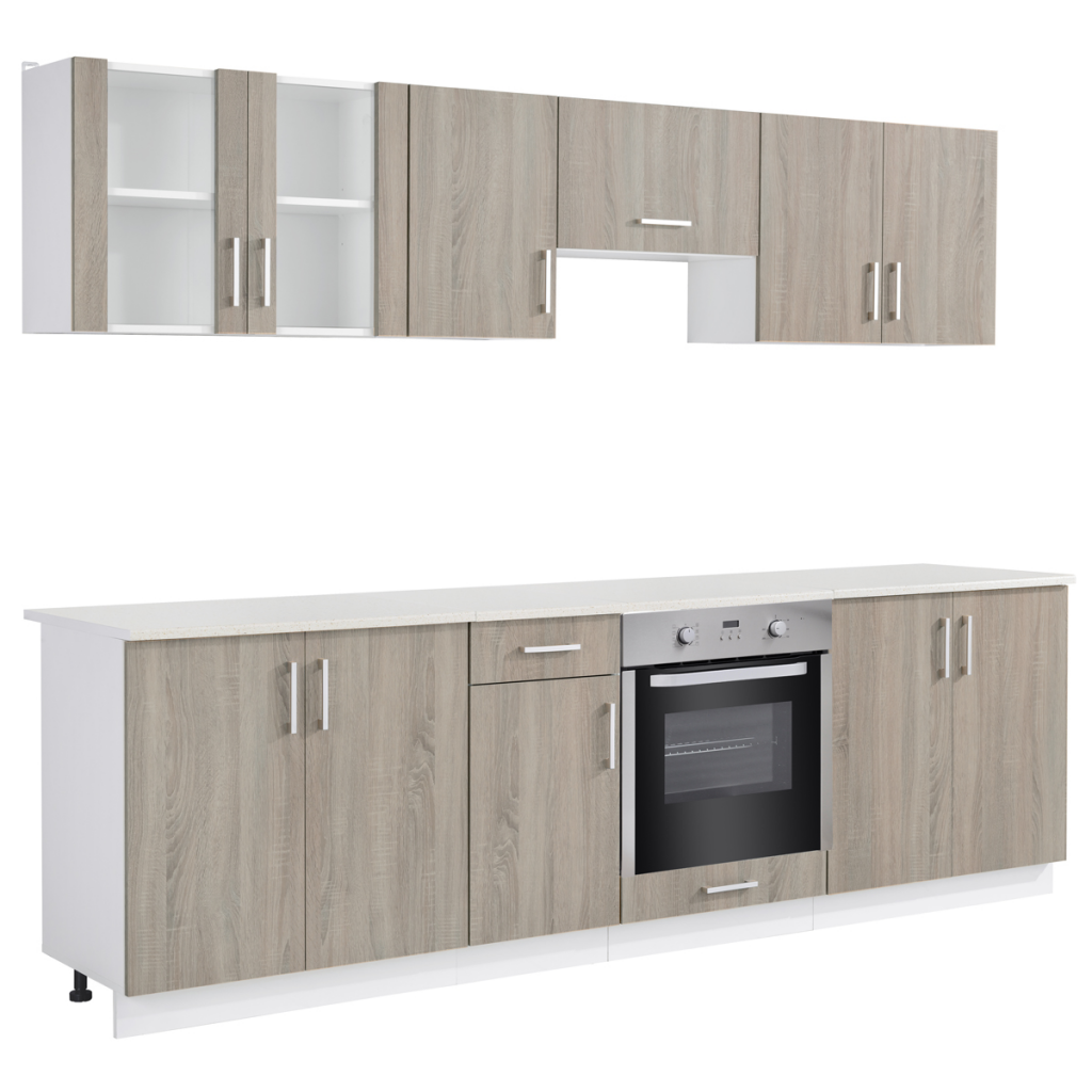wood Oak Look Kitchen Cabinet Unit with Built-in Oven 8 Functions ...
