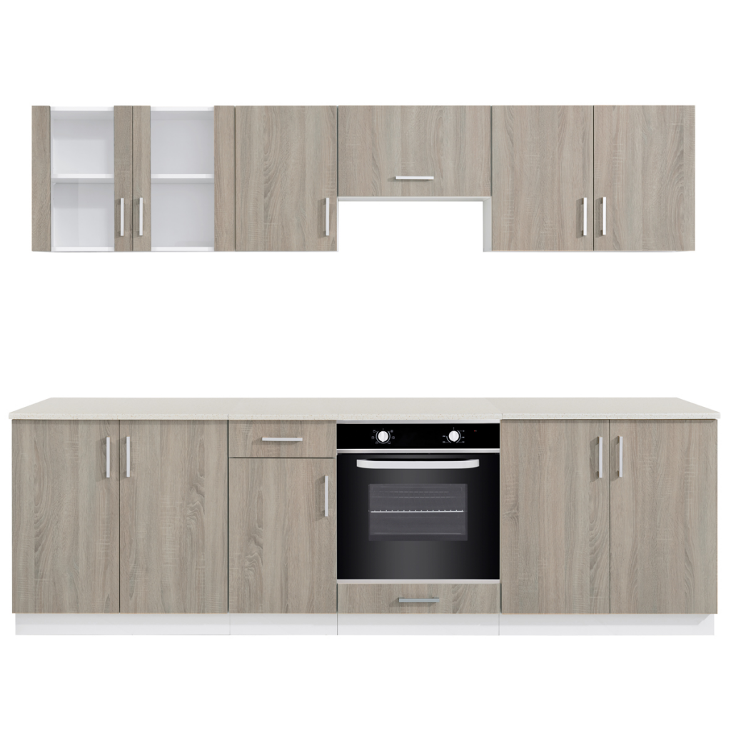 Oak Look Kitchen Cabinet Unit With Built In Oven 6 Functions