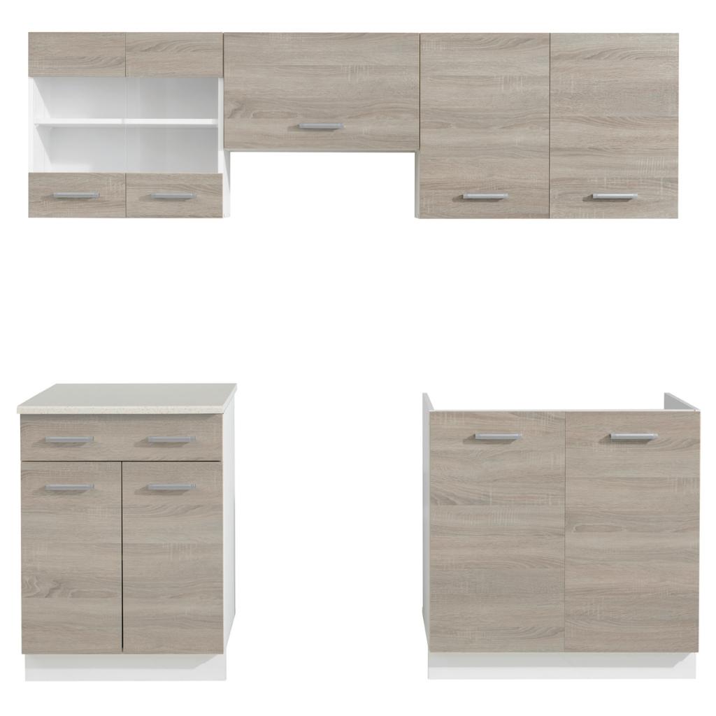 nur oak blick k che kabinett einheit 5 st ck mit sp le 80 x 60 cm. Black Bedroom Furniture Sets. Home Design Ideas