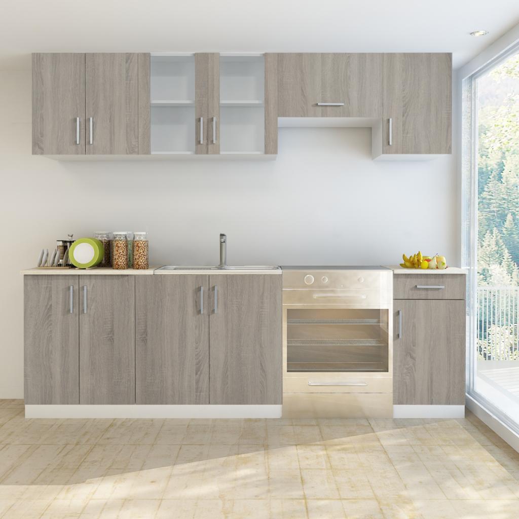 Nur 468.64€, Oak Blick Küche-Kabinett-Einheit 7 Stück mit Spüle 80 x ...