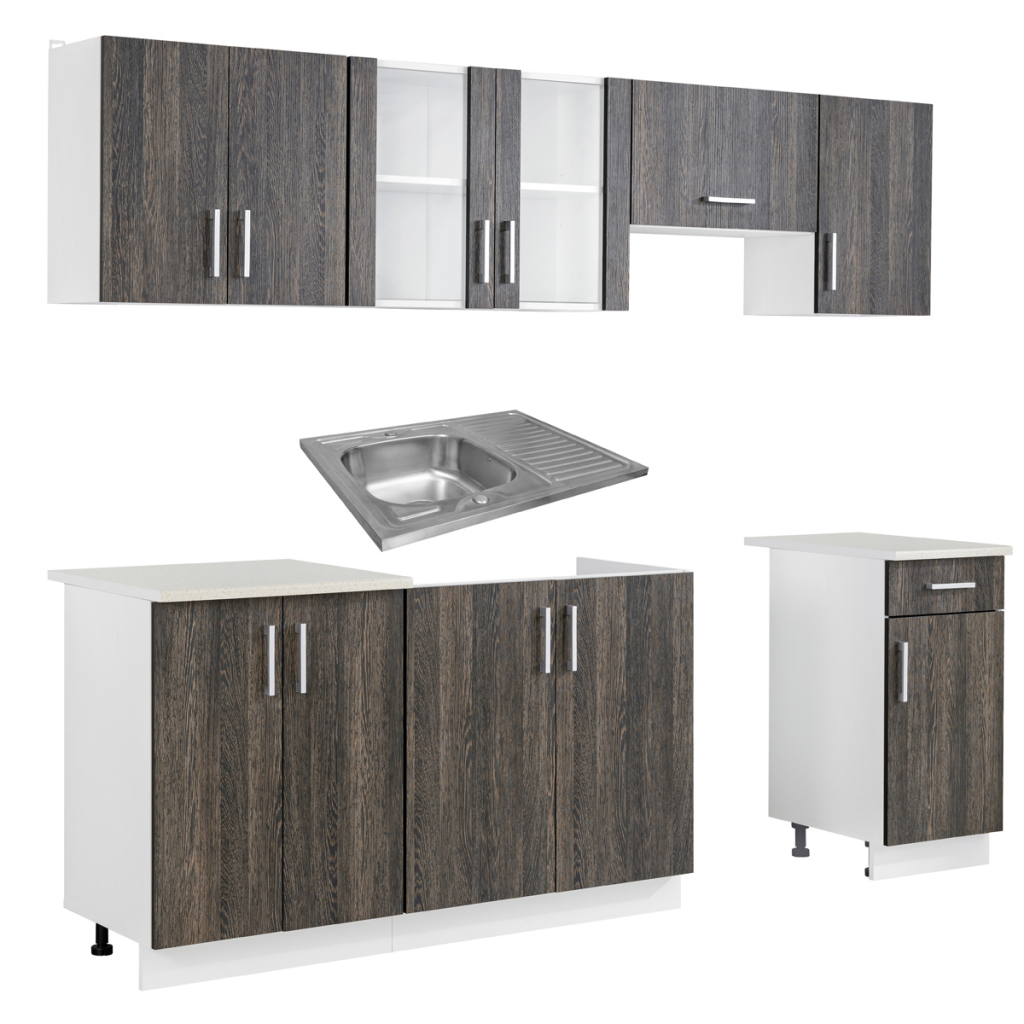 gray Wenge Look Kitchen Cabinet Unit 7 pcs with Sink 80 x 60 cm ...