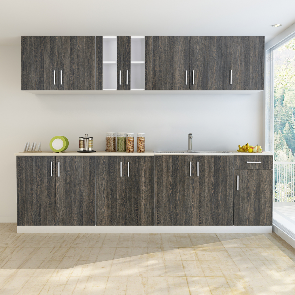Gray Wenge Look Kitchen Cabinet Unit 8 Pcs With Sink 80 X 60 Cm