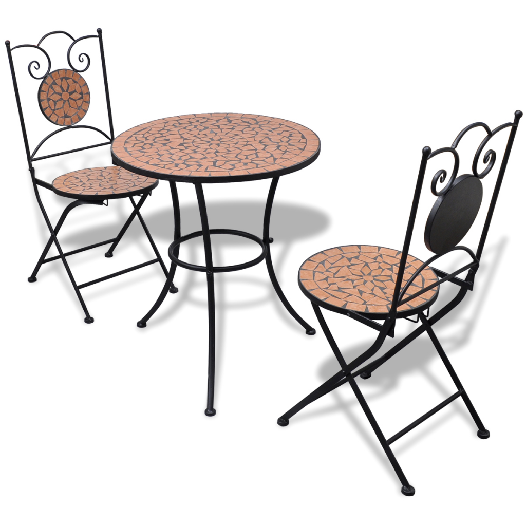 Lovely Mosaic Bistro Table 60 Cm With 2 Chairs Terracotta