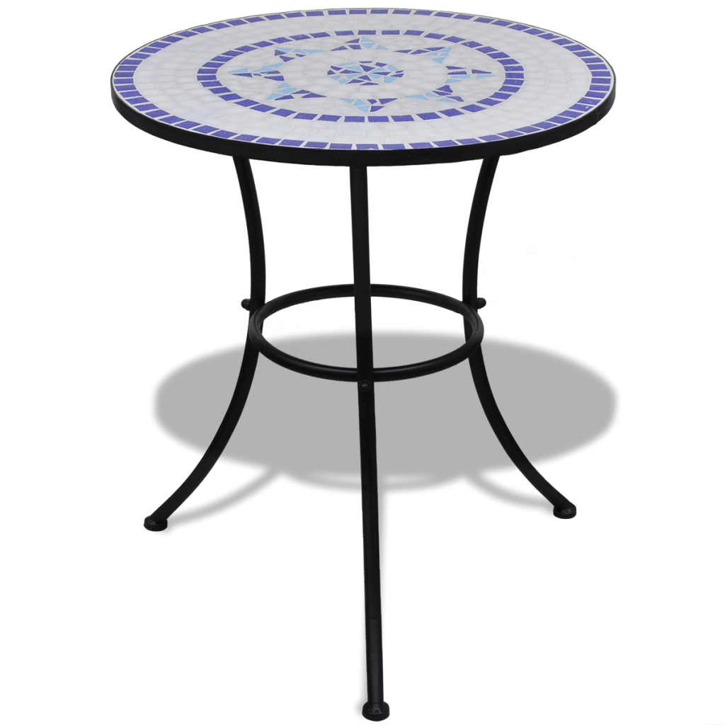 Blue White Mosaic Bistro Table 60 Cm With 2 Chairs Blue