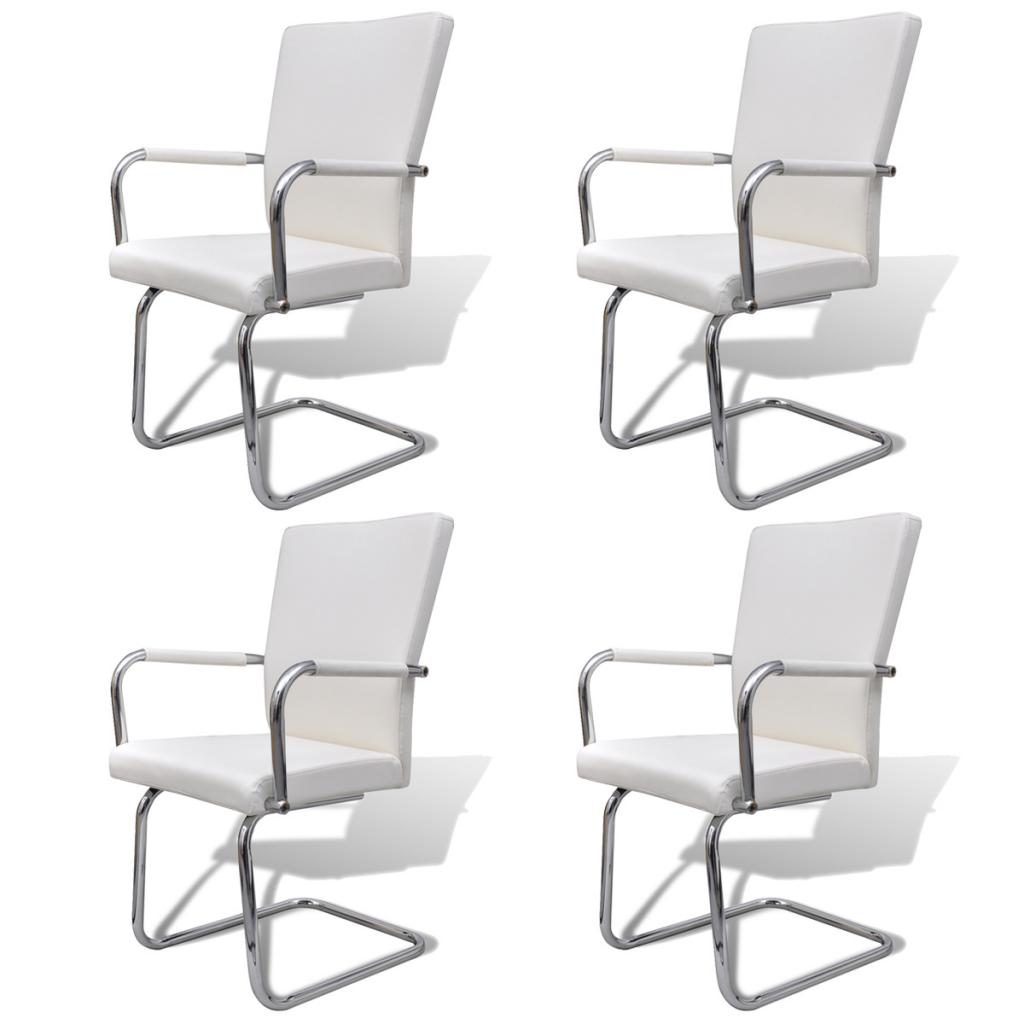 S lo 4 piezas de cuero artificial para silla de for Sillas comedor cuero blanco