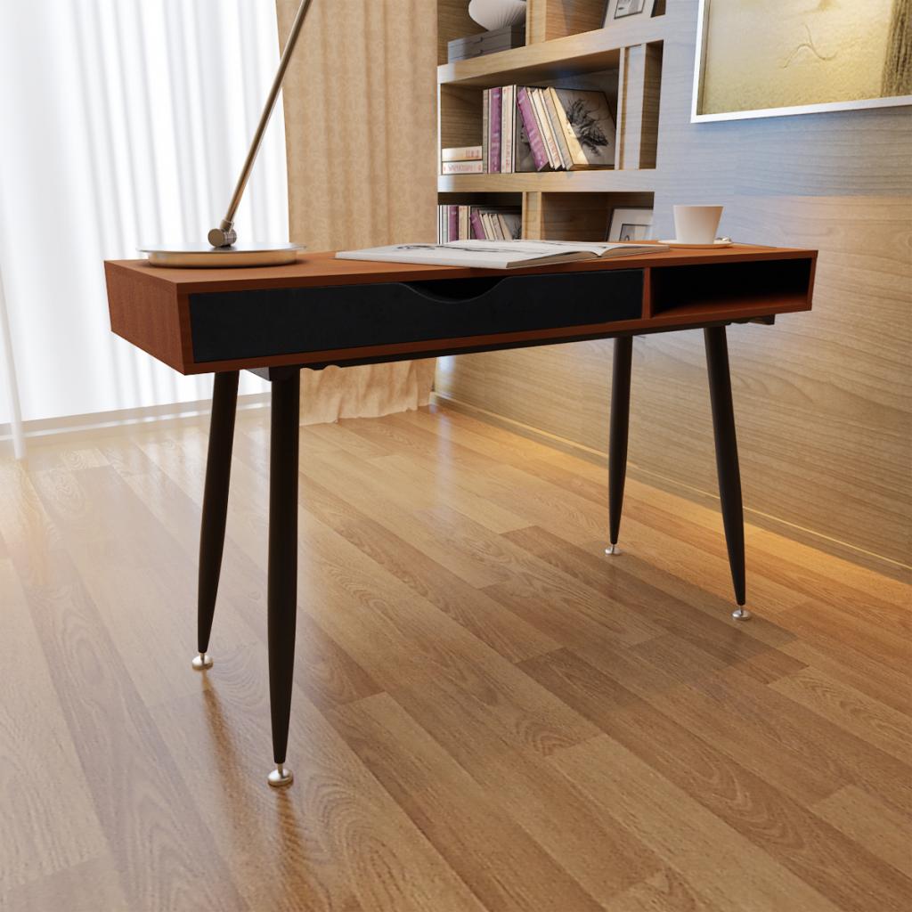 bureau informatique moderne brun. Black Bedroom Furniture Sets. Home Design Ideas