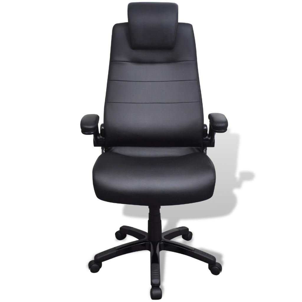 chaise pivotante r glable avec accoudoir en cuir artificiel noir. Black Bedroom Furniture Sets. Home Design Ideas