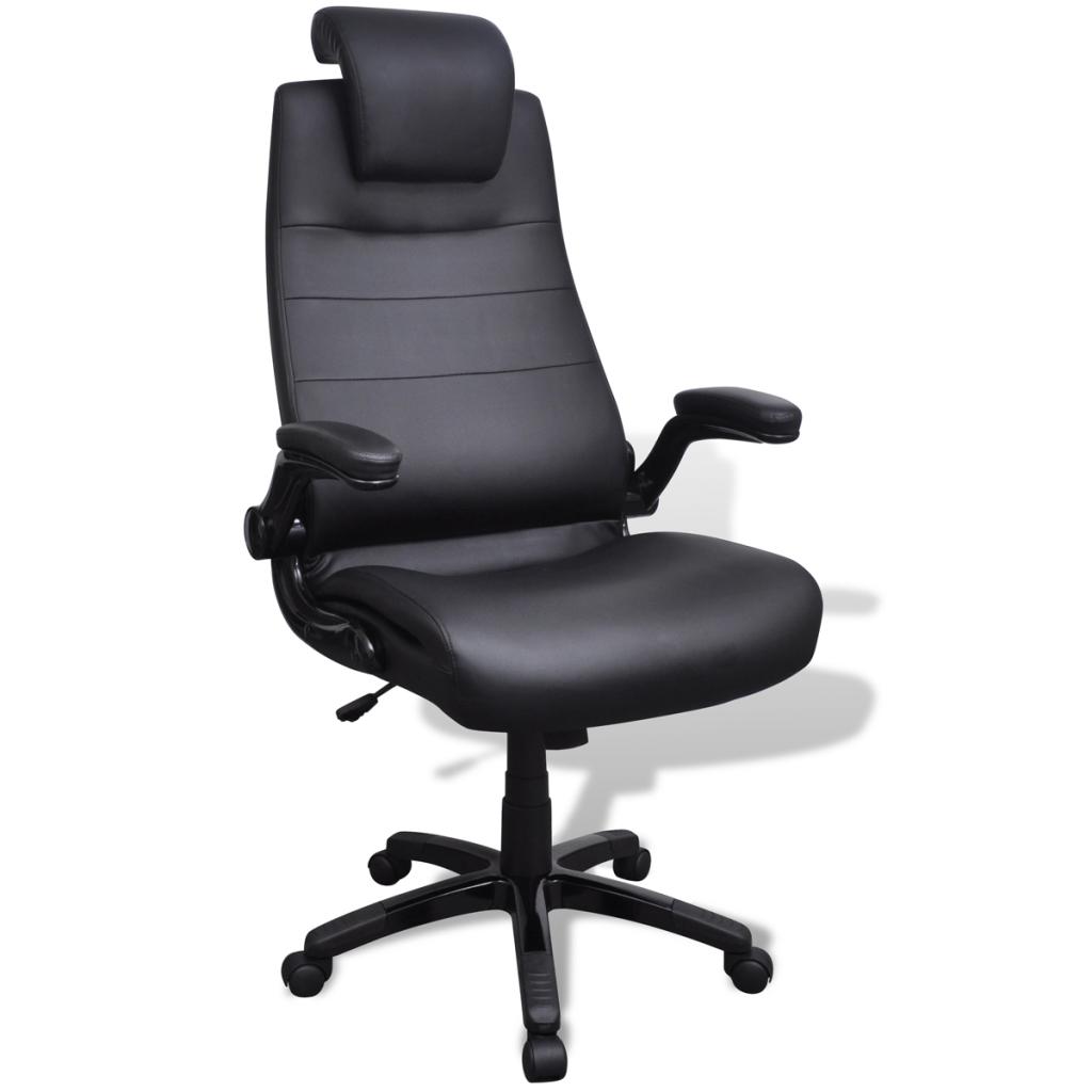 Chaise pivotante r glable avec accoudoir en cuir for Chaise pivotante