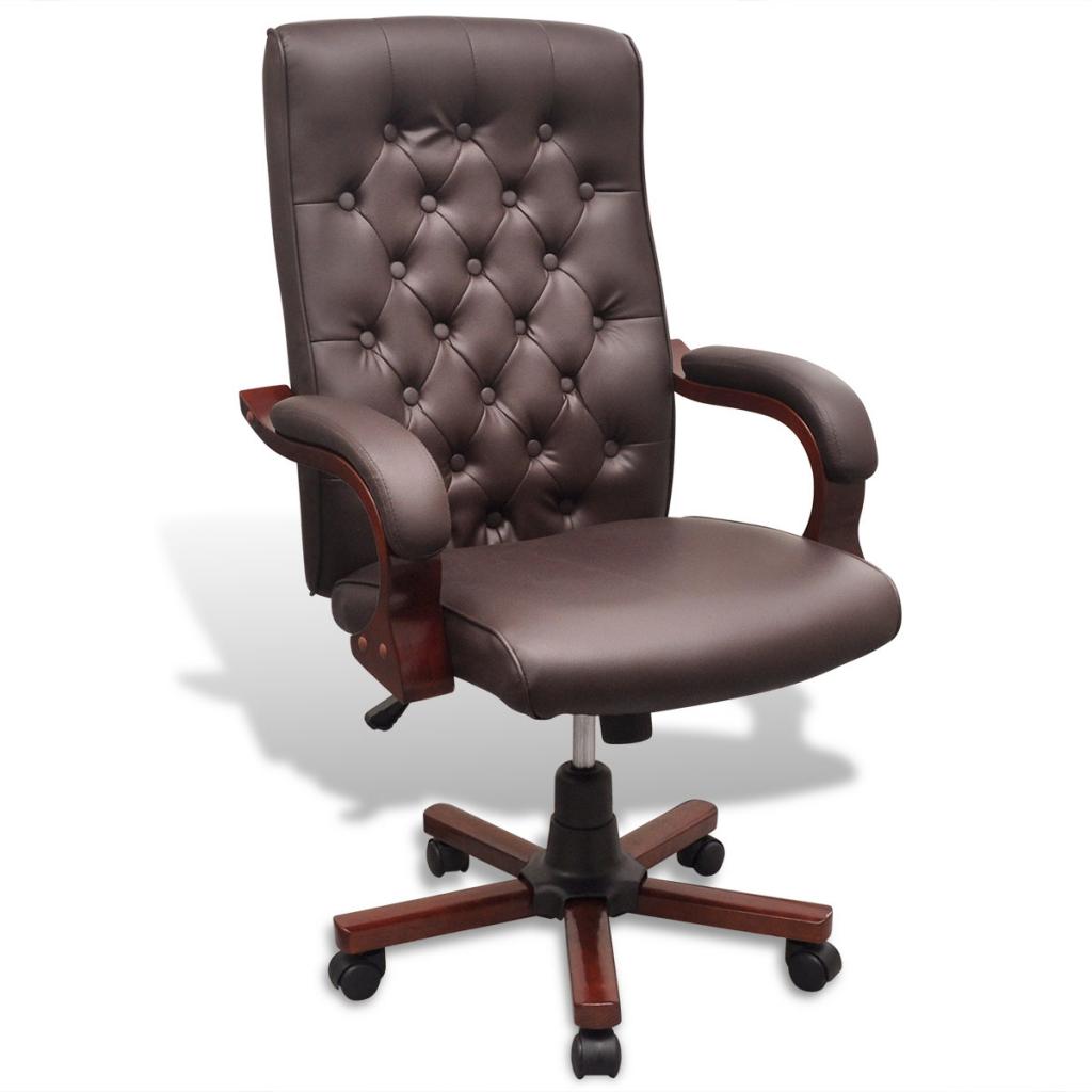 fauteuil de bureau chesterfield en cuir artificiel marron. Black Bedroom Furniture Sets. Home Design Ideas
