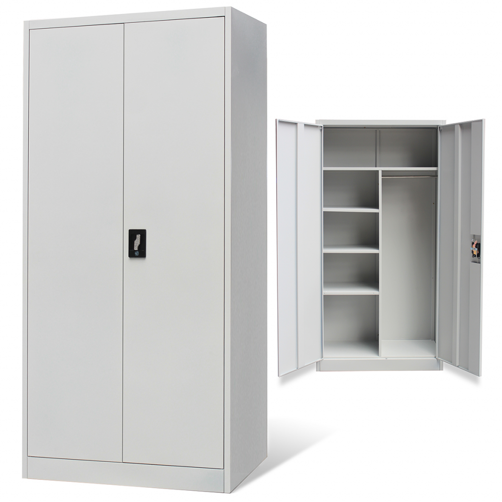 armoire m tallique en style vestiaire avec 2 portes gris. Black Bedroom Furniture Sets. Home Design Ideas