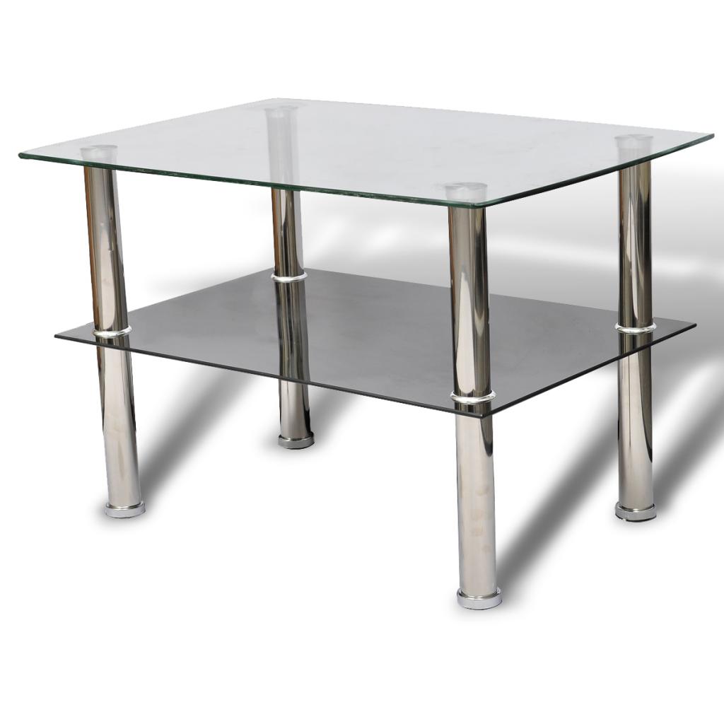 Des 49 99 Table Basse Double Plateau En Verre Trempe Table Basse