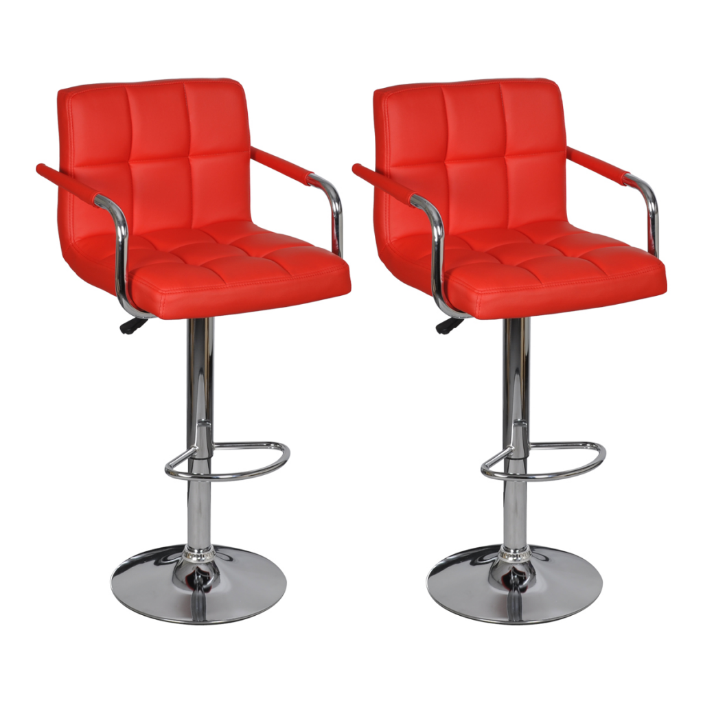 tabouret de bar avec accoudoir 2 pcs rouge. Black Bedroom Furniture Sets. Home Design Ideas