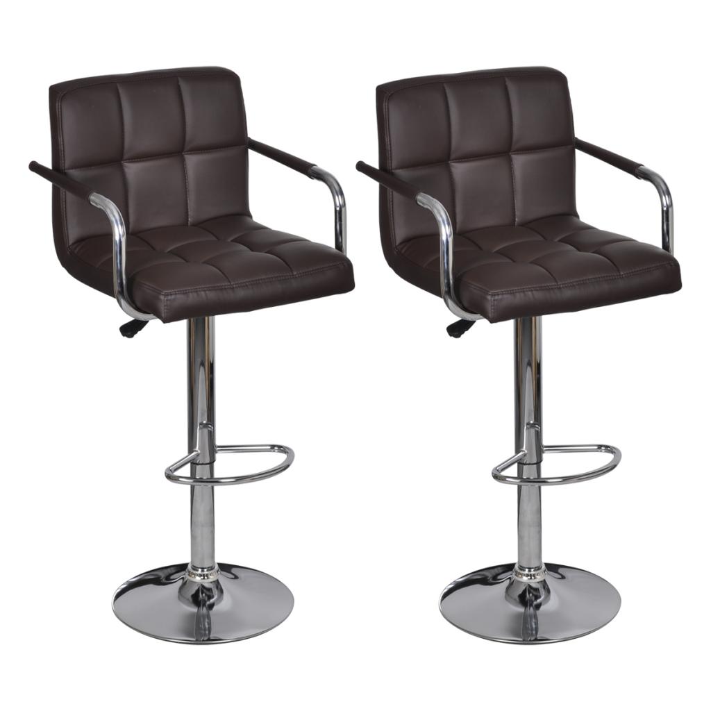 tabouret de bar avec accoudoir 2 pcs marron. Black Bedroom Furniture Sets. Home Design Ideas