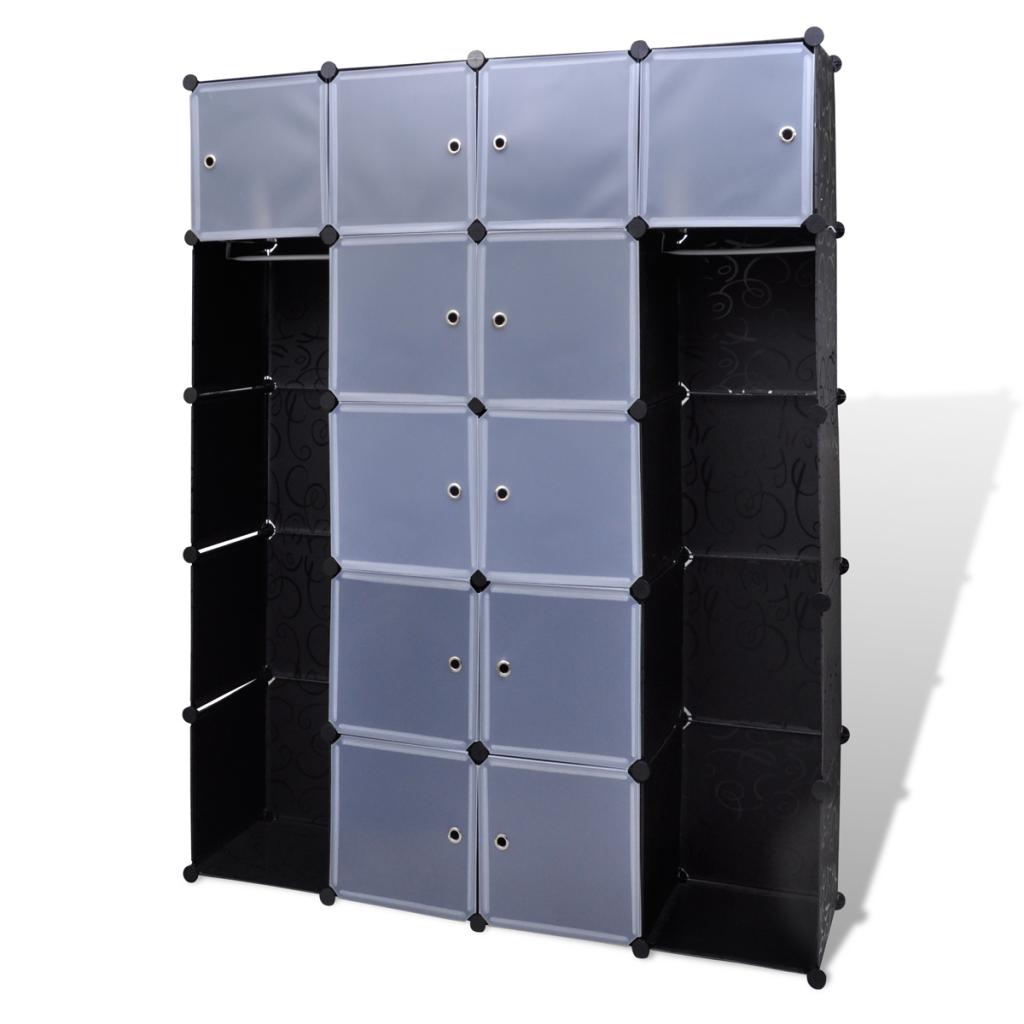d s armoire modulable noir et blanc avec 14 compartiments armoire. Black Bedroom Furniture Sets. Home Design Ideas