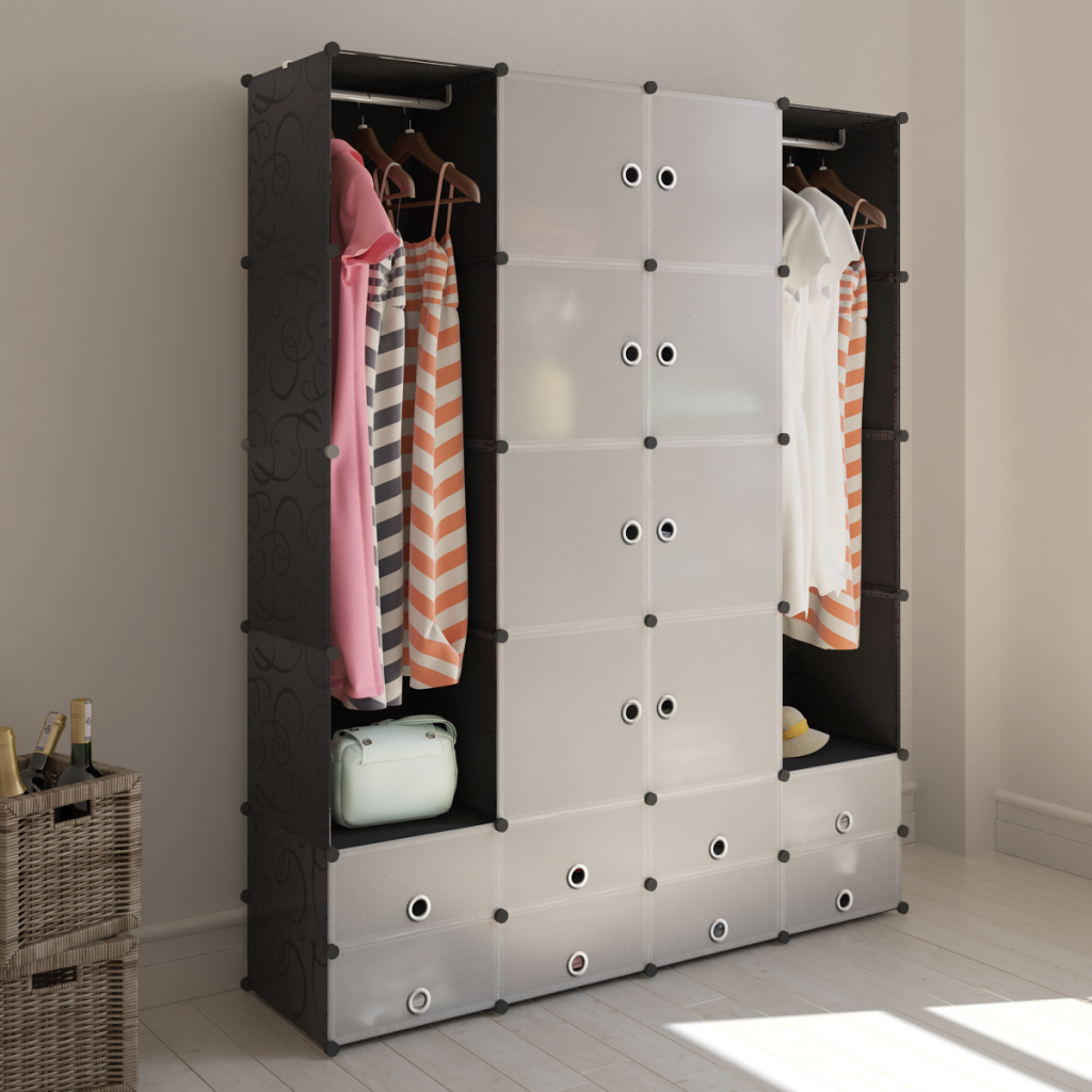armoire modulable noir et blanc avec 18 compartiments. Black Bedroom Furniture Sets. Home Design Ideas