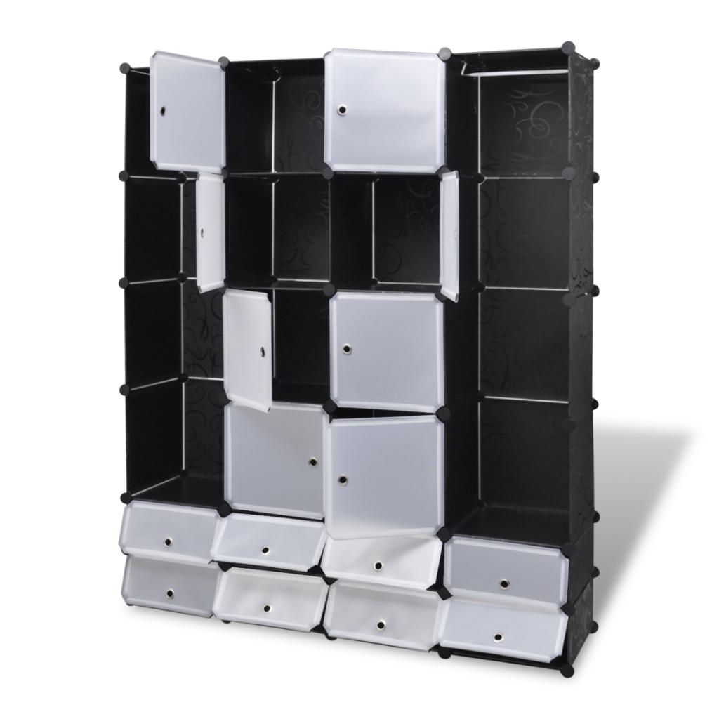 Armoire modulable noir et blanc avec 18 compartiments for Armoire modulable