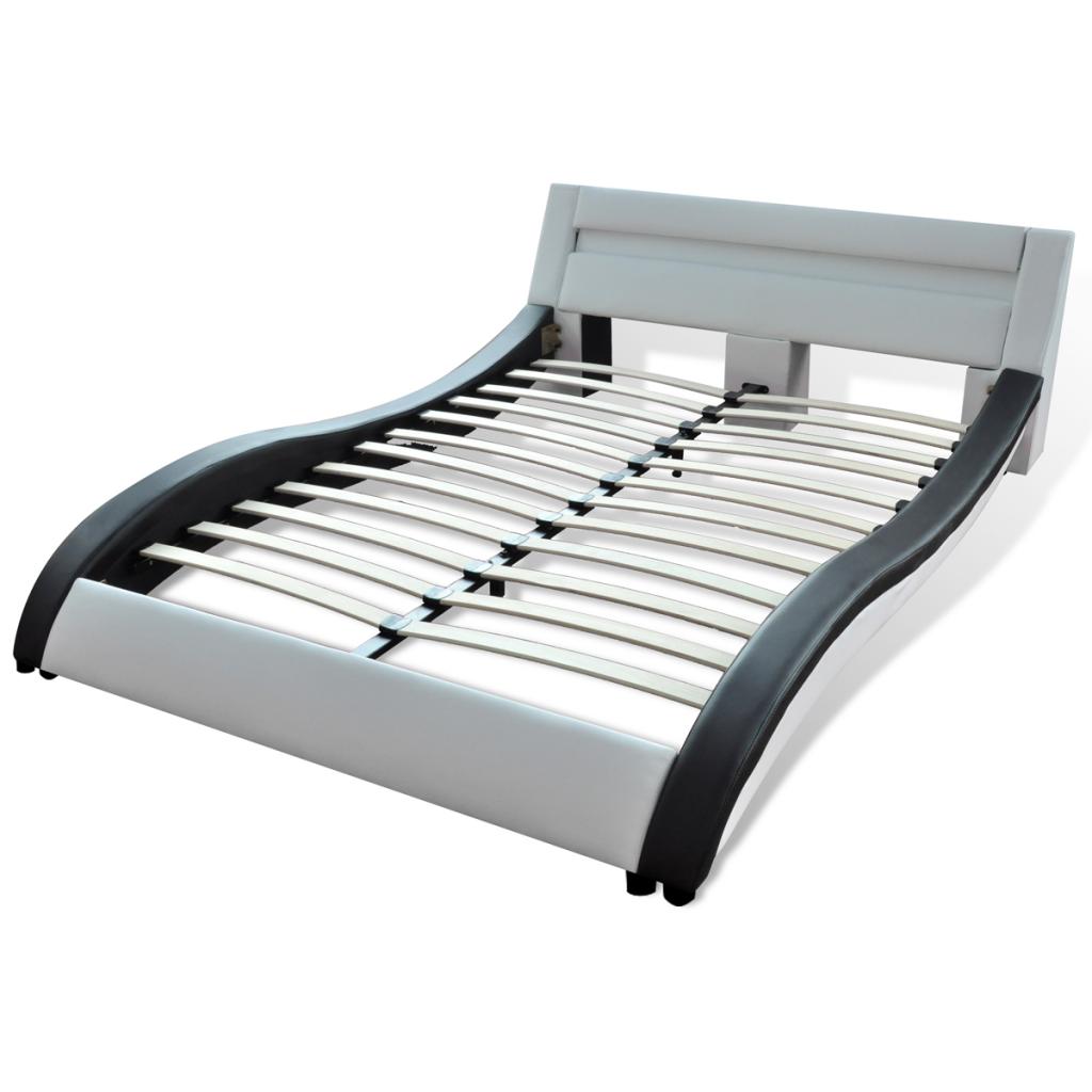 lit avec led 140 cm noir et blanc simili cuir. Black Bedroom Furniture Sets. Home Design Ideas
