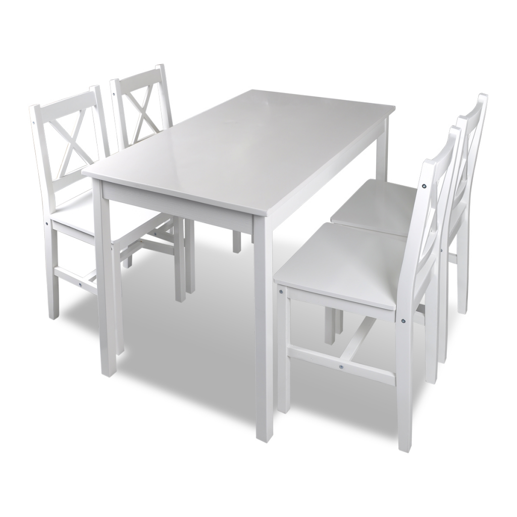 ensemble table et chaises blanc 4 personnes. Black Bedroom Furniture Sets. Home Design Ideas