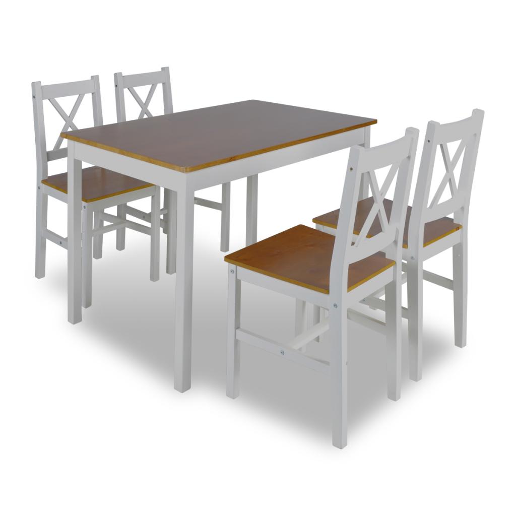 1 ensemble table en bois 4 chaises couleur marron for Ensemble table 4 chaises