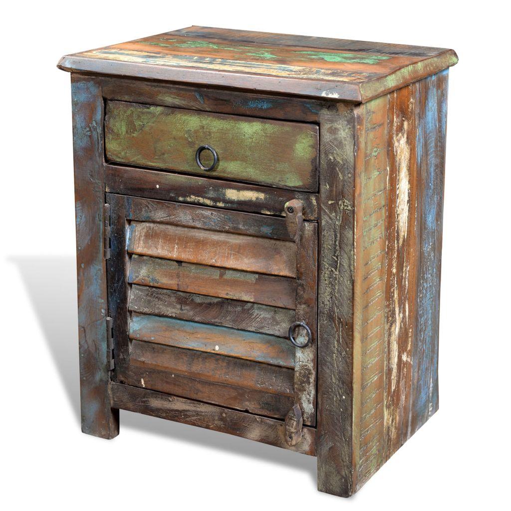 Dès 119.99€, Table de chevet vintage en bois recyclé bois multicolore -  Interougehome.com