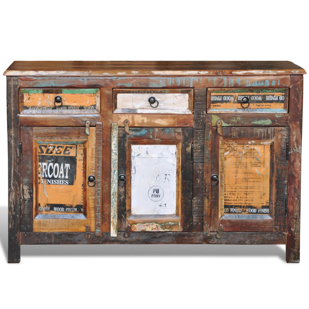 buffet vintage en bois recycl. Black Bedroom Furniture Sets. Home Design Ideas