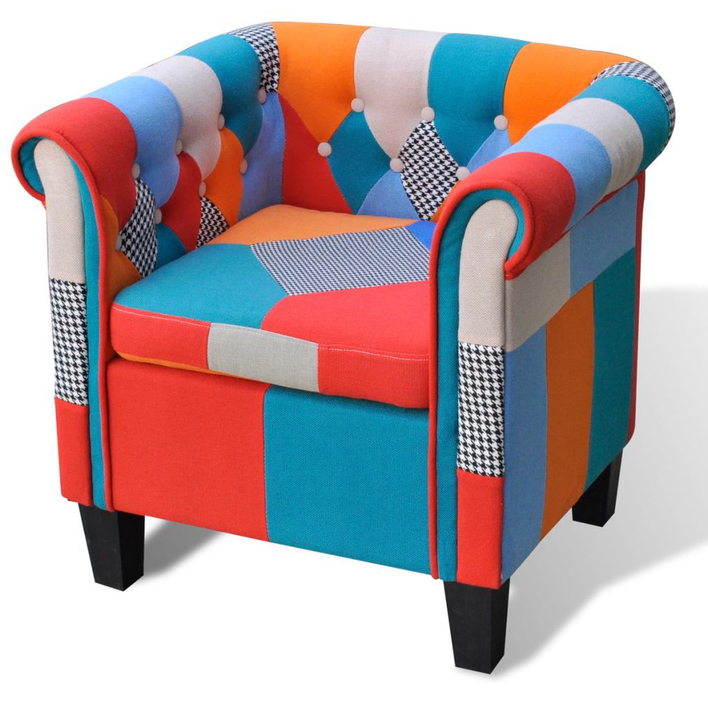 fauteuil patchwork en tissu. Black Bedroom Furniture Sets. Home Design Ideas