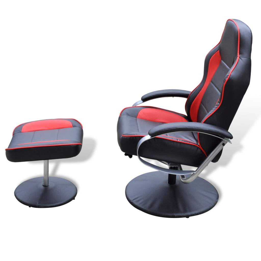 fauteuil avec repose pied noir et rouge. Black Bedroom Furniture Sets. Home Design Ideas