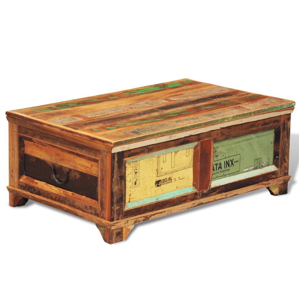 table basse vintage bois recycl. Black Bedroom Furniture Sets. Home Design Ideas