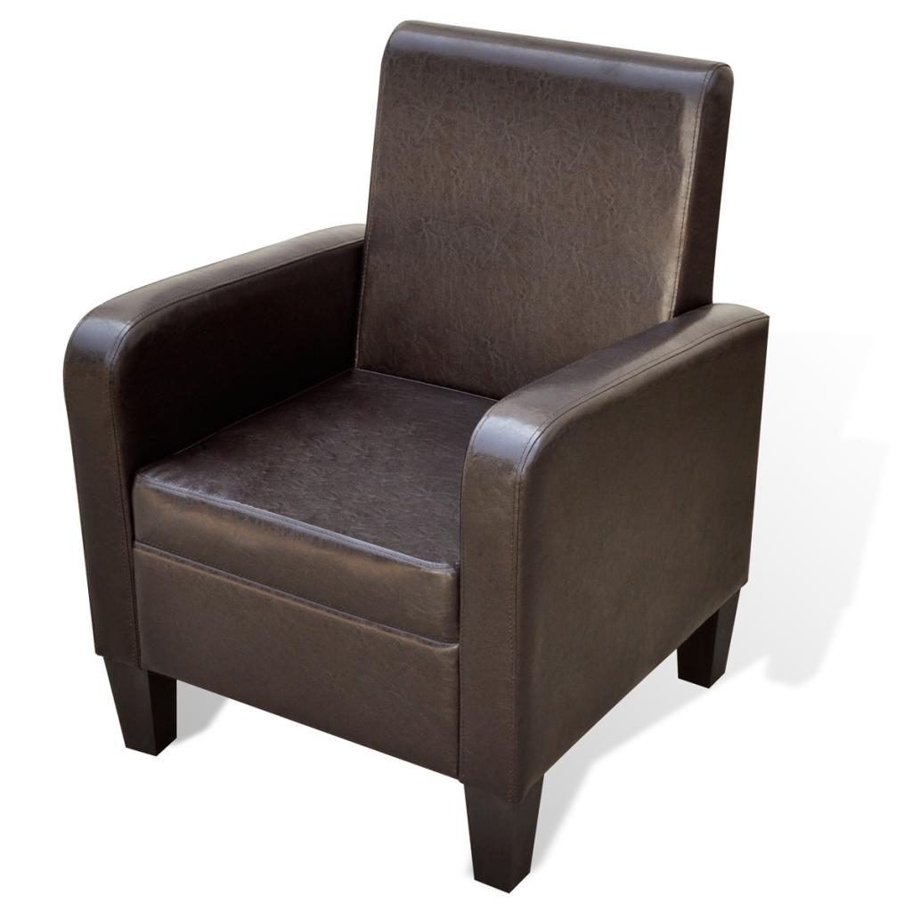 fauteuil marron en cuir synth tique. Black Bedroom Furniture Sets. Home Design Ideas