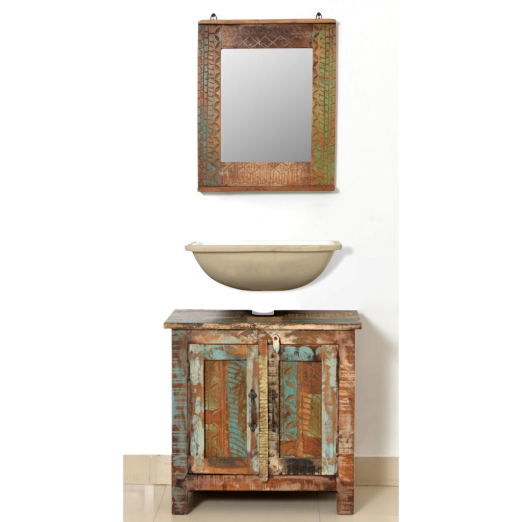 Ensemble de salle de bain en bois massif recycl for Ensemble salle de bain bois