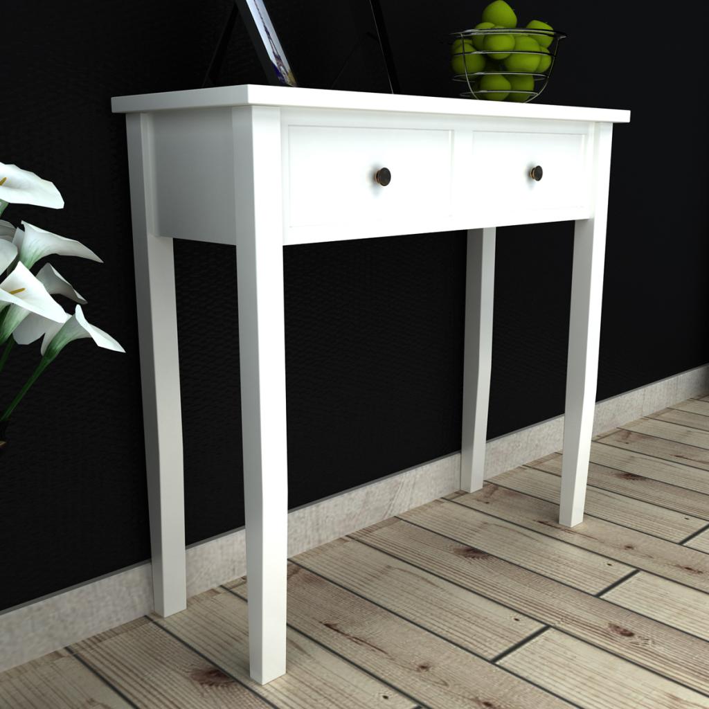 coiffeuse en bois avec deux tiroirs blanc. Black Bedroom Furniture Sets. Home Design Ideas