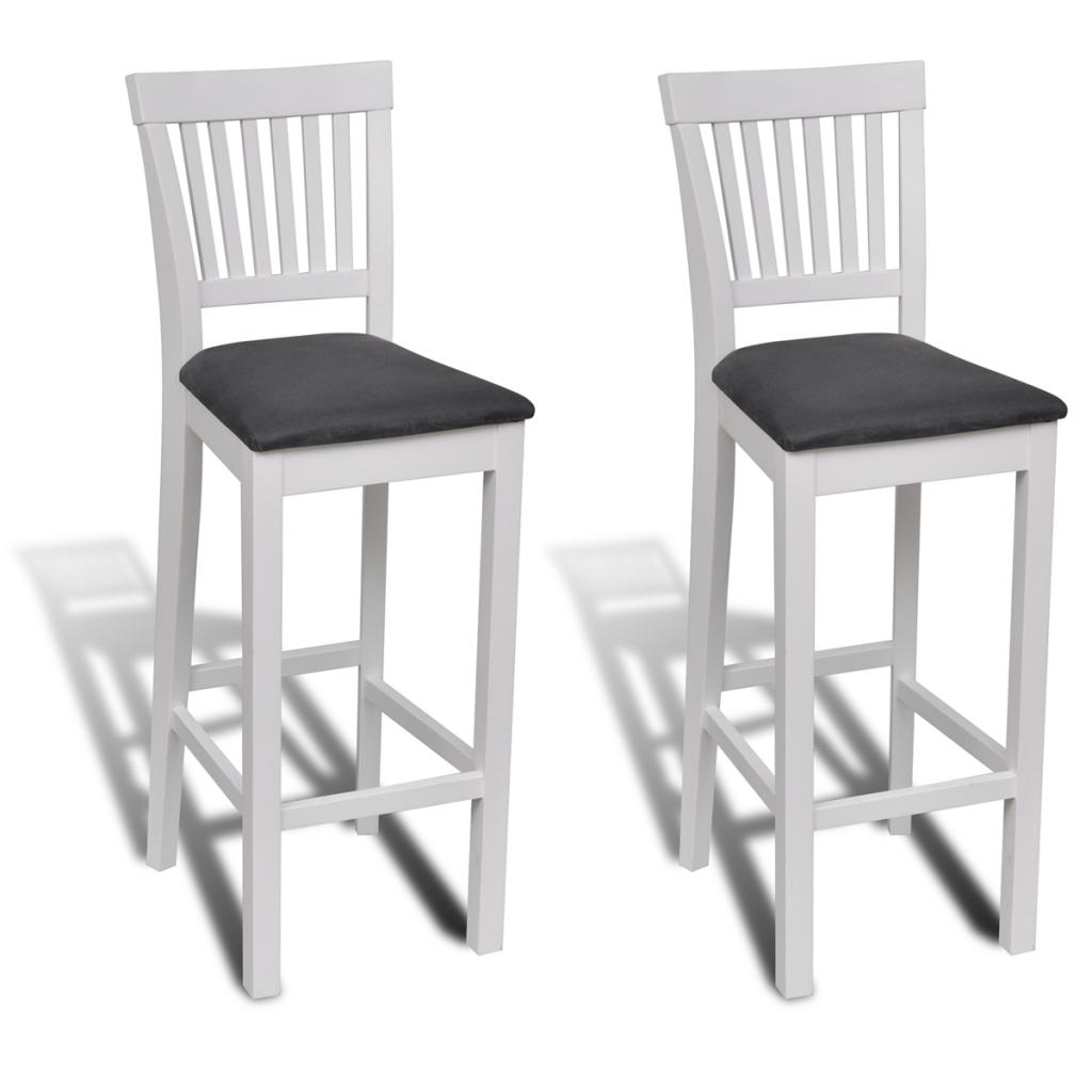 Lot de 2 chaises bar en bois blanc interougehome for Chaise en bois blanc
