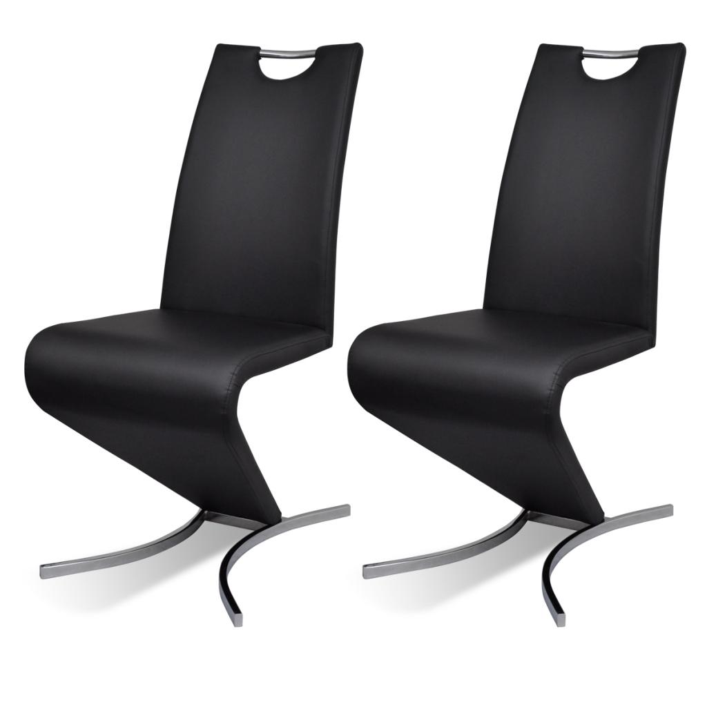 D s en lot chaise en simili cuir cantilever avec for Chaise 2 pieds