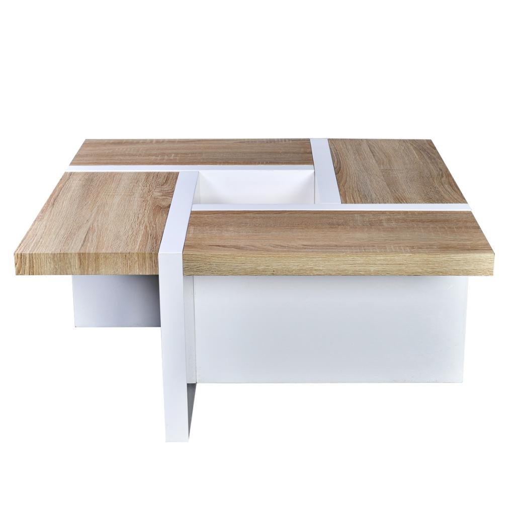 Dès 15999 Table Basse Chêne Et Blanc Brillant Table Basse