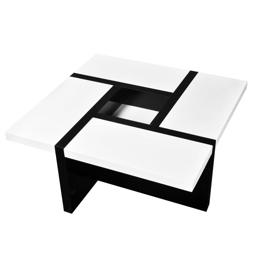 Des 149 99 Table Basse Coloris Blanc Noir Brillant Interougehome Com