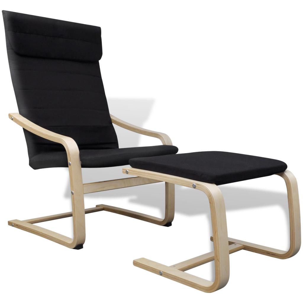 fauteuil noir en bois avec repose pieds. Black Bedroom Furniture Sets. Home Design Ideas
