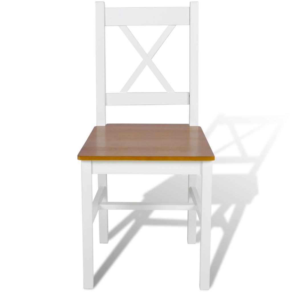 lot de 2 chaises en bois blanc et naturel. Black Bedroom Furniture Sets. Home Design Ideas