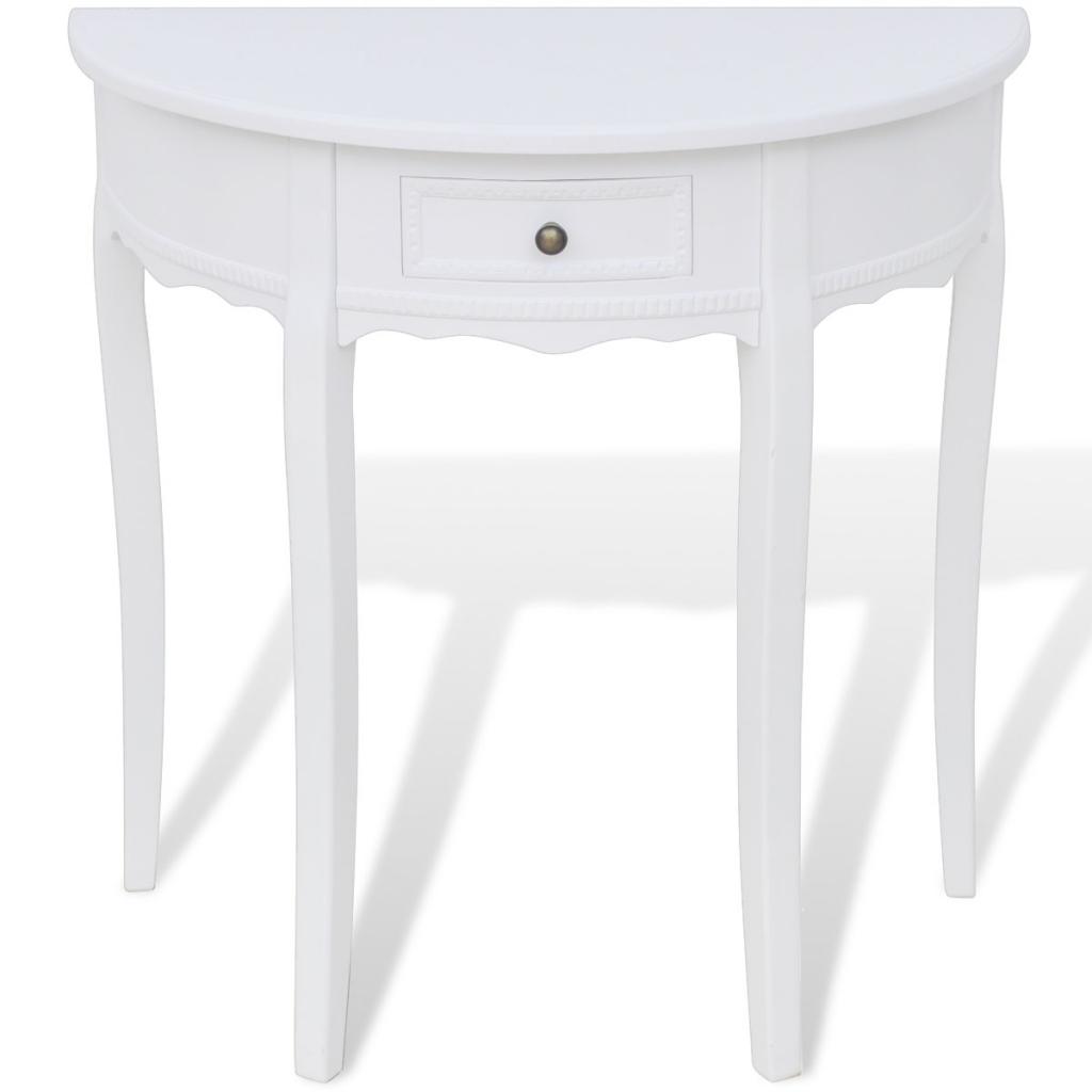 console demi lune avec tiroir blanc. Black Bedroom Furniture Sets. Home Design Ideas