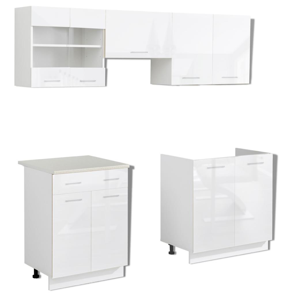 set de 5 meubles de cuisine blanc brillant 200 cm. Black Bedroom Furniture Sets. Home Design Ideas