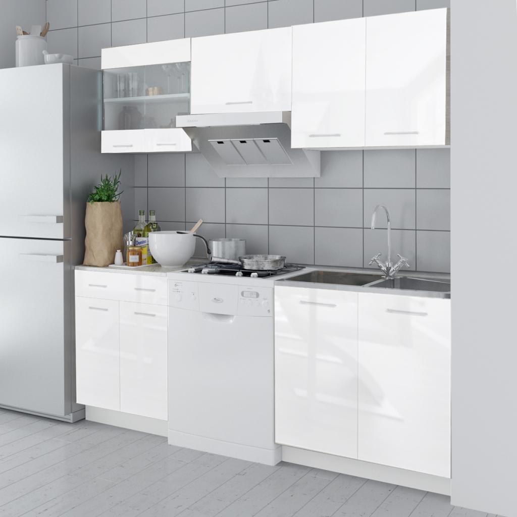 Set de 5 meubles de cuisine blanc brillant 200 cm